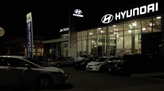 One side of Hyundai car dealership Stock Footage