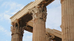 Corinthian capitals and architraves, details of Olympian Zeus Temple in Athens Stock Footage