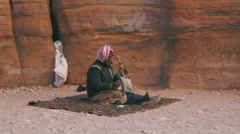 Local musicians in world wonder Petra in Jordan Stock Footage