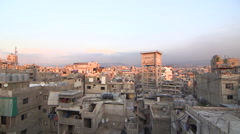 View of the roofs in Chatila refugee neighborhood, Beirut, Lebanon - stock footage