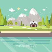 Winter Snow Urban Countryside Landscape City Village Real Estate New Year - stock illustration