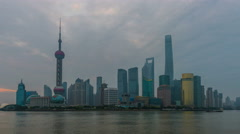 Sunrise Skyline view from Bund waterfront on Pudong,Shanghai - stock footage