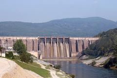 hydroelectric power plants on river industry zone - stock photo
