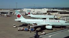 Air Canada airplanes prepare to flight at YVR airport Stock Footage