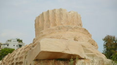 Remains of ancient column made of Pentelic marble, archaeological excavations Stock Footage