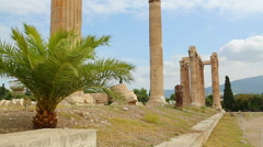 Sightseeing tour around ancient building ruins, summer vacation, tourist trip Stock Footage