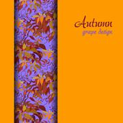 Stock Illustration of Autumn grape with orange red leaves background. Vertical border design.