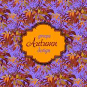 Stock Illustration of Autumn grape with orange leaves. Seamless pattern. Vintage text label