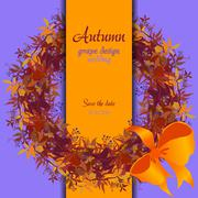 Autumn grape with orange leaves. Circle and border wedding design. Stock Illustration
