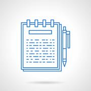 Ring notebook flat blue line vector icon. - stock illustration