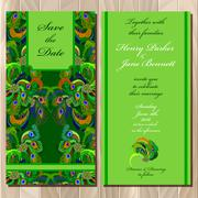 Peacock Feathers wedding invitation card. Printable Vector illustration. - stock illustration