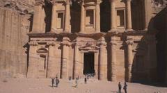 The monastery in world wonder Petra in Jordan Stock Footage