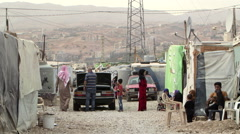Bekaa valley refugee camp - stock footage