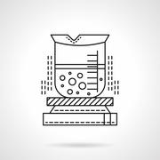 Heated beaker flat line vector icon. - stock illustration