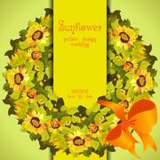 Floral sunflower and leafs circle strip border wedding design. Stock Illustration