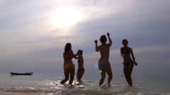 Happy Lifestyle and Summer Vacation - Girls on Beach Stock Footage