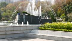 Central square fountain at Zoological and Botanical Gardens parallax shot Stock Footage