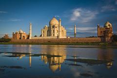 India, Agra, Taj Mahal reflecting in river Stock Photos
