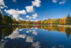 Montreal, Forest reflecting in lake in autumn Kuvituskuvat