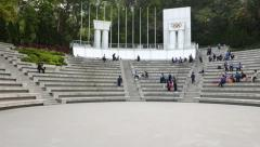 Olympic Square amphitheatre at Hong Kong park, general panoramic pan shot Stock Footage