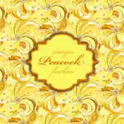 Yellow orange peacock feathers pattern background. Vintage label. - stock illustration