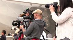 Journalists and photographers at work Stock Footage