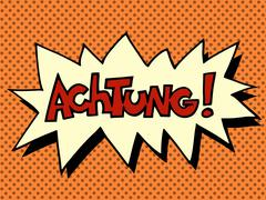 Stock Illustration of Achtung warning German language