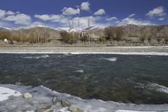 India, Ladakh, Indus river in winter - stock photo