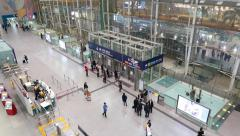 Hong Kong station, in-city check-in concourse area from above, moving camera - stock footage