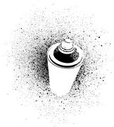 Stock Illustration of graffiti cross spray design element in white on black