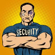Brutal security guard after a fight Stock Illustration
