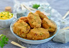 Salt cod fritters with aioli Stock Photos