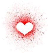 Stock Illustration of graffiti heart spray design element in white on red