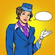 Stock Illustration of Stewardess airline invites you to Board