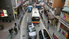 Traffic jam on narrow Hollywood road at daytime, top point view Stock Footage