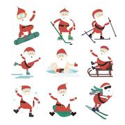 Cartoon extreme Santa winter sport illustration - stock illustration
