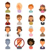 Set of people portrait face icons web avatars flat style silhouette - stock illustration