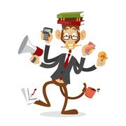 Cartoon monkey business man stress dancing - stock illustration