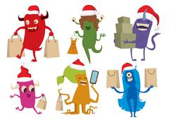 Cartoon cute monsters Christmas sale shopping vector - stock illustration