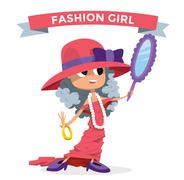 Cute fashion small girl clothing like mother - stock illustration