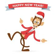 Funny monkey Christmas Santa hat dancing - stock illustration