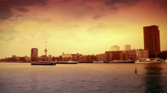 The river of Rotterdam from the Erasmusbrug at sunset Stock Footage