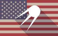 Long shadow vector USA flag icon with a vintage satellite - stock illustration