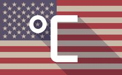 Long shadow vector USA flag icon with  a celsius degree sign Stock Illustration