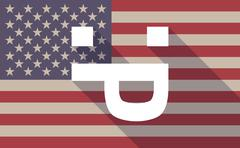 Long shadow vector USA flag icon with a sticking out tongue text face - stock illustration