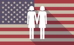 Long shadow vector USA flag icon with a lesbian couple pictogram Stock Illustration