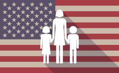 Long shadow vector USA flag icon with a female single parent family pictogram - stock illustration