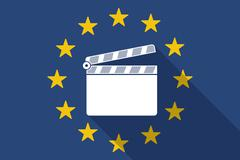 European Union  long shadow flag with a clapperboard Stock Illustration