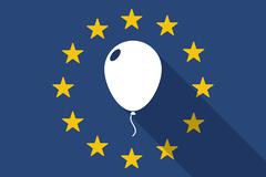 European Union  long shadow flag with a balloon Stock Illustration