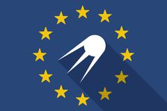 European Union  long shadow flag with a vintage satellite Stock Illustration